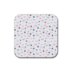 Cute Flamingos And  Leaves Pattern Rubber Square Coaster (4 pack)
