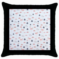 Cute Flamingos And  Leaves Pattern Throw Pillow Case (Black)