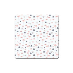 Cute Flamingos And  Leaves Pattern Square Magnet