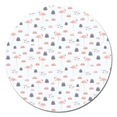 Cute Flamingos And  Leaves Pattern Magnet 5  (Round)