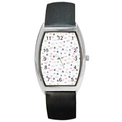 Cute Flamingos And  Leaves Pattern Barrel Style Metal Watch
