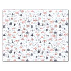 Cute Flamingos And  Leaves Pattern Rectangular Jigsaw Puzzl