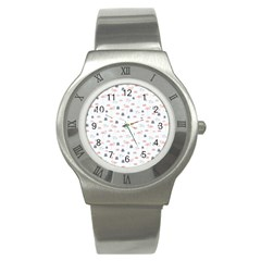 Cute Flamingos And  Leaves Pattern Stainless Steel Watch