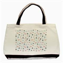 Cute Flamingos And  Leaves Pattern Basic Tote Bag