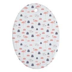 Cute Flamingos And  Leaves Pattern Oval Ornament (Two Sides)
