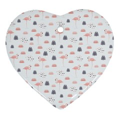 Cute Flamingos And  Leaves Pattern Heart Ornament (Two Sides)