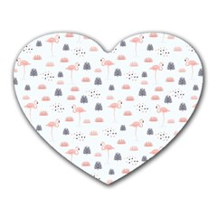 Cute Flamingos And  Leaves Pattern Heart Mousepads