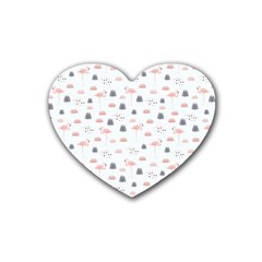 Cute Flamingos And  Leaves Pattern Rubber Coaster (Heart)
