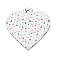 Cute Flamingos And  Leaves Pattern Dog Tag Heart (Two Sides)