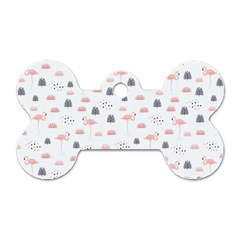 Cute Flamingos And  Leaves Pattern Dog Tag Bone (Two Sides)