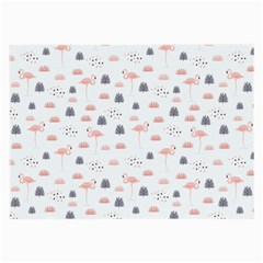 Cute Flamingos And  Leaves Pattern Large Glasses Cloth (2-Side)