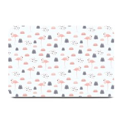 Cute Flamingos And  Leaves Pattern Plate Mats