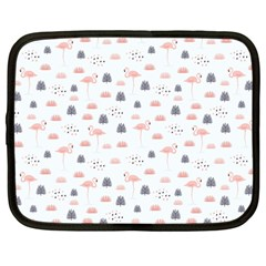 Cute Flamingos And  Leaves Pattern Netbook Case (Large)
