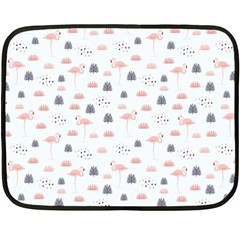 Cute Flamingos And  Leaves Pattern Double Sided Fleece Blanket (Mini)