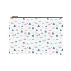 Cute Flamingos And  Leaves Pattern Cosmetic Bag (Large)