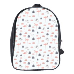 Cute Flamingos And  Leaves Pattern School Bags(Large)