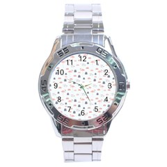 Cute Flamingos And  Leaves Pattern Stainless Steel Analogue Watch