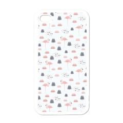 Cute Flamingos And  Leaves Pattern Apple iPhone 4 Case (White)