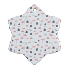 Cute Flamingos And  Leaves Pattern Snowflake Ornament (Two Sides)