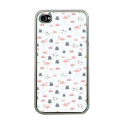 Cute Flamingos And  Leaves Pattern Apple iPhone 4 Case (Clear)