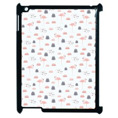Cute Flamingos And  Leaves Pattern Apple iPad 2 Case (Black)