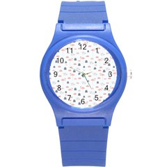 Cute Flamingos And  Leaves Pattern Round Plastic Sport Watch (S)