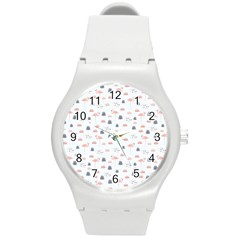 Cute Flamingos And  Leaves Pattern Round Plastic Sport Watch (M)
