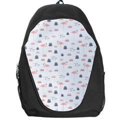 Cute Flamingos And  Leaves Pattern Backpack Bag