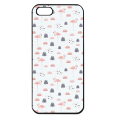 Cute Flamingos And  Leaves Pattern Apple iPhone 5 Seamless Case (Black)