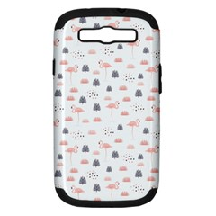 Cute Flamingos And  Leaves Pattern Samsung Galaxy S III Hardshell Case (PC+Silicone)