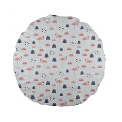 Cute Flamingos And  Leaves Pattern Standard 15  Premium Round Cushions