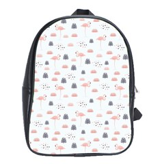 Cute Flamingos And  Leaves Pattern School Bags (XL)