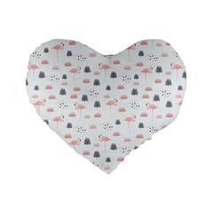 Cute Flamingos And  Leaves Pattern Standard 16  Premium Heart Shape Cushions