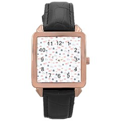 Cute Flamingos And  Leaves Pattern Rose Gold Leather Watch