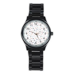 Cute Flamingos And  Leaves Pattern Stainless Steel Round Watch