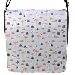 Cute Flamingos And  Leaves Pattern Flap Messenger Bag (S)