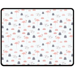 Cute Flamingos And  Leaves Pattern Double Sided Fleece Blanket (Medium)