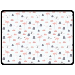 Cute Flamingos And  Leaves Pattern Double Sided Fleece Blanket (Large)