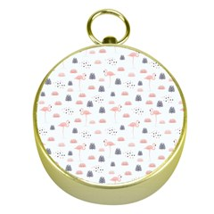 Cute Flamingos And  Leaves Pattern Gold Compasses