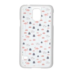Cute Flamingos And  Leaves Pattern Samsung Galaxy S5 Case (White)