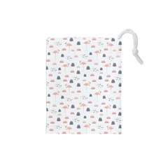 Cute Flamingos And  Leaves Pattern Drawstring Pouches (Small)