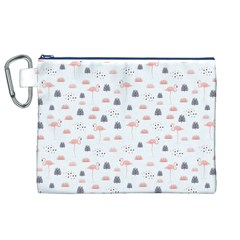 Cute Flamingos And  Leaves Pattern Canvas Cosmetic Bag (XL)