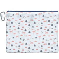 Cute Flamingos And  Leaves Pattern Canvas Cosmetic Bag (XXXL)