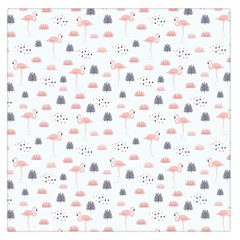 Cute Flamingos And  Leaves Pattern Large Satin Scarf (Square)