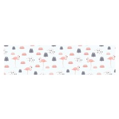 Cute Flamingos And  Leaves Pattern Satin Scarf (Oblong)