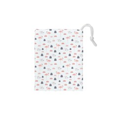 Cute Flamingos And  Leaves Pattern Drawstring Pouches (XS)