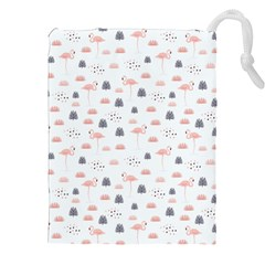 Cute Flamingos And  Leaves Pattern Drawstring Pouches (XXL)