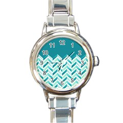 Zigzag pattern in blue tones Round Italian Charm Watch
