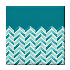 Zigzag pattern in blue tones Tile Coasters
