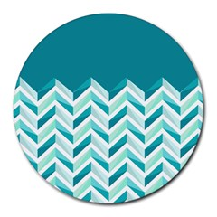 Zigzag pattern in blue tones Round Mousepads
